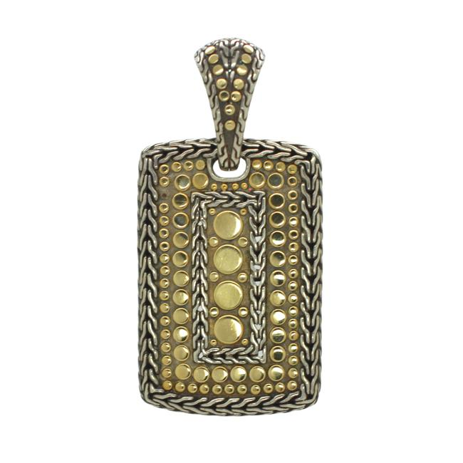 Item - Silver Gold 18k Yellow and 925 Sterling Dot Dog Tag Pendant Necklace