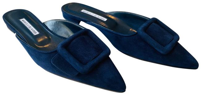 Item - Navy Suede Maysale Buckled Flats Size EU 37.5 (Approx. US 7.5) Regular (M, B)