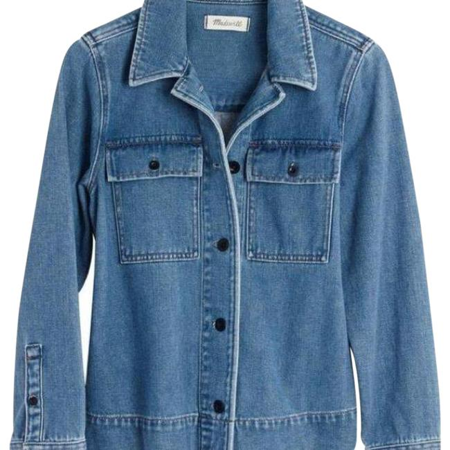Item - Blue Back Pleated Military Army Swing Jacket Size 8 (M)