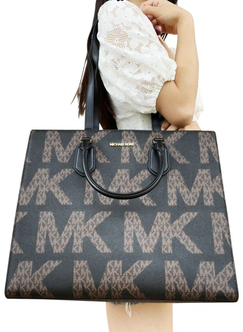 Item - XL Everlyn Convertible Graphic Logo Black Brown Leather Satchel