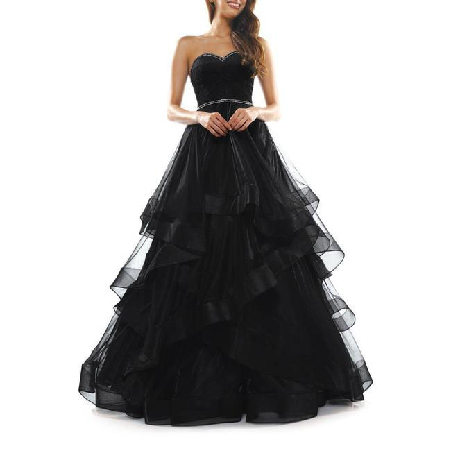 Item - Black Strapless Tulle Studded Maxi Gown Formal Dress Size 6 (S)