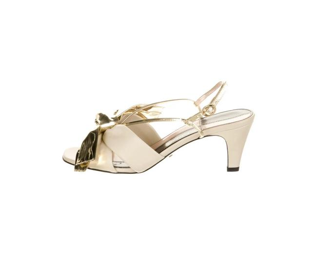 Item - Beige/ Gold Leather Bow Accents Slingback Sandals Size US 9 Regular (M, B)