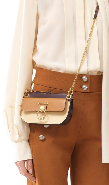 Item - Tess Small Pouch In Tricolour Brown Calfskin Leather Cross Body Bag