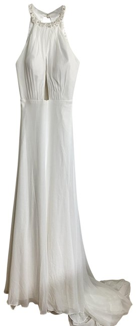 Item - White Haltered Gown Long Formal Dress Size 8 (M)