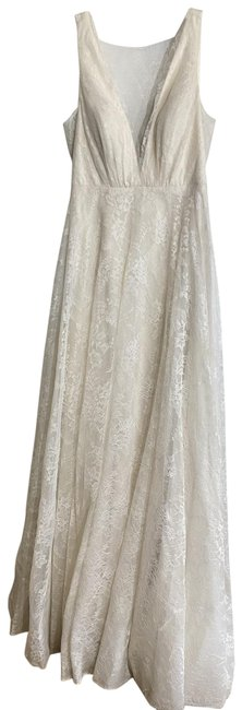 Item - Ivory New V-neck Nude Lace Gown Msrp Long Cocktail Dress Size 4 (S)