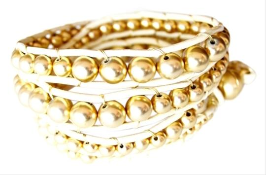 Other Gold Beaded Leather Wrap Bracelet