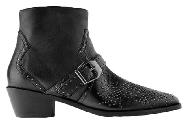 Item - Black | Cowboy Heel Leather Ankle Micro Studs Boots/Booties Size US 6.5 Regular (M, B)