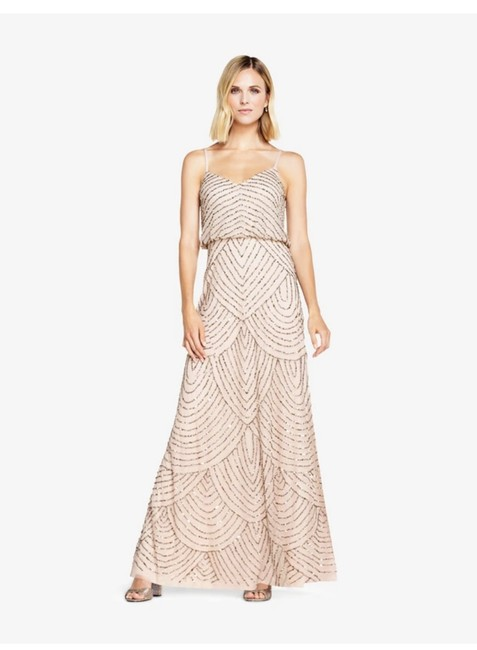 Item - Beige Polyester Art Deco Blouson Beaded Gown Formal Bridesmaid/Mob Dress Size 2 (XS)