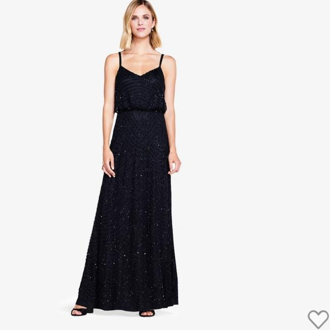 Item - Black Polyester Art Deco Blouson Beaded Gown Formal Bridesmaid/Mob Dress Size 4 (S)