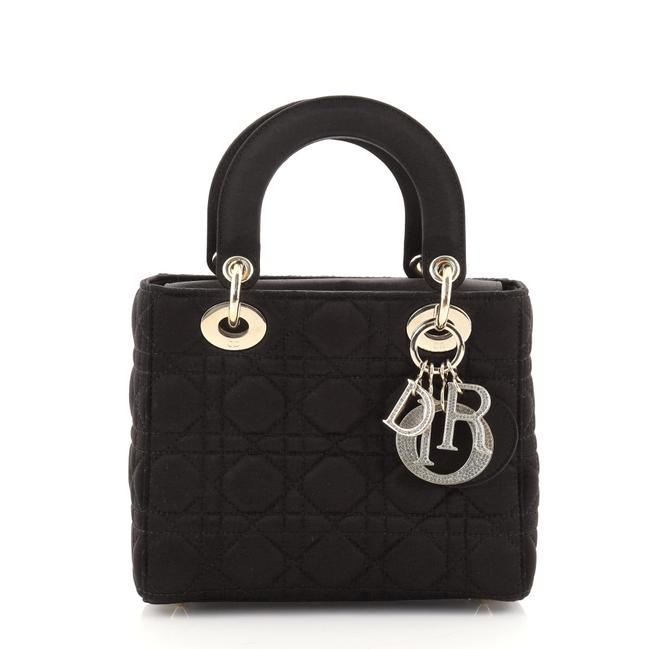 Item - Lady Cannage Quilt with Crystal Charms Mini Black Satin Satchel