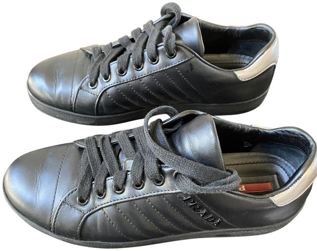 Item - Black Leather Lace Up Sneakers Size EU 36.5 (Approx. US 6.5) Regular (M, B)