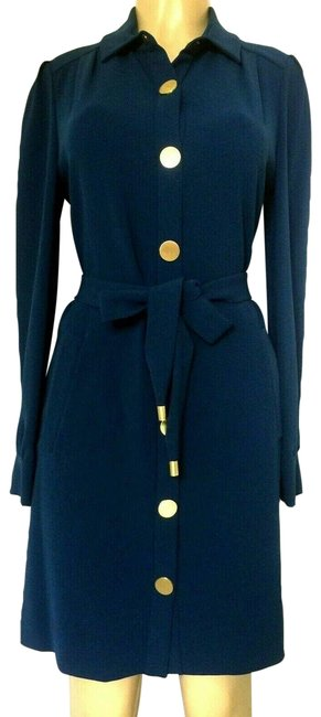 Item - Blue Dvf New Tunis Long Sleeve Belted Short Casual Dress Size 10 (M)