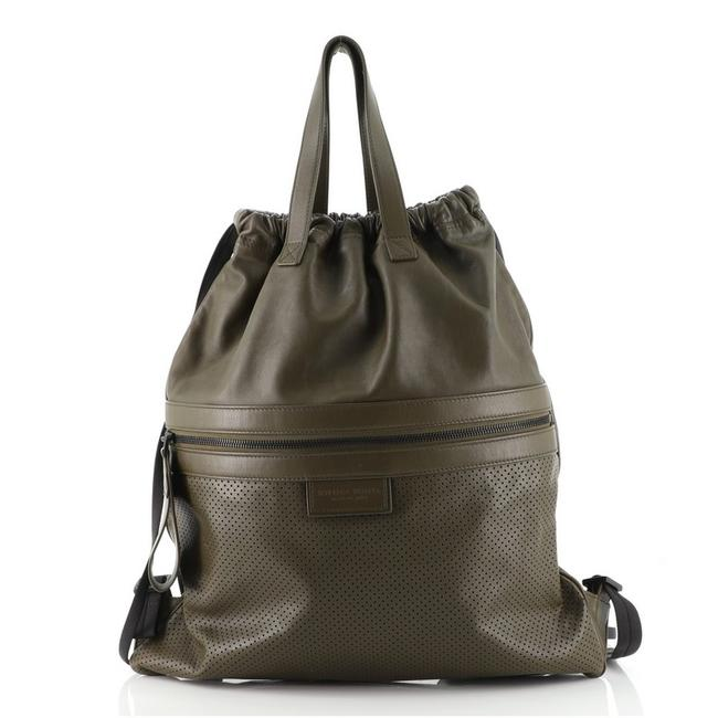 Item - Drawstring Perforated Large Green Leather Backpack