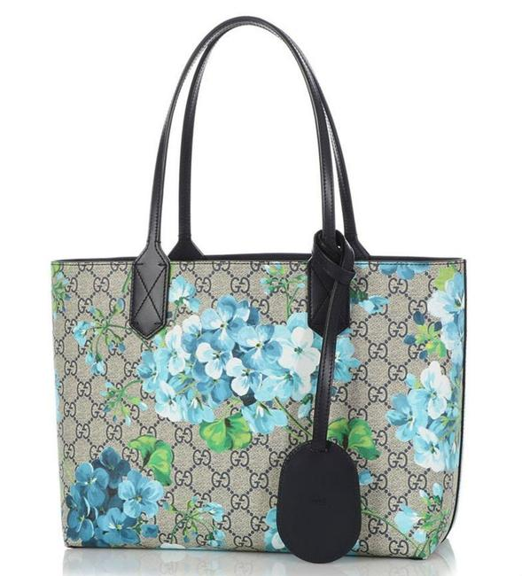 Item - Small Gg Blooms Reversible Tote Midnight Blue/Flower Canvas/Leather Shoulder Bag