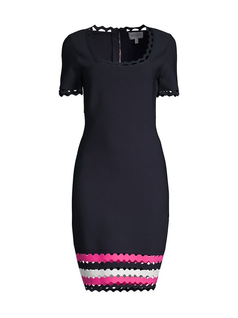 Item - Navy Blue Pink Scallop Cut-out Short Sleeve Bodycon Mid-length Cocktail Dress Size 8 (M)