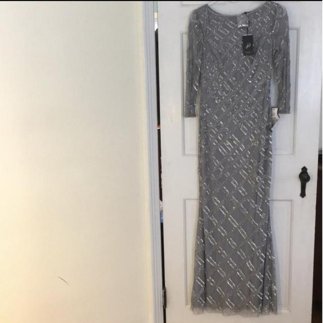 Item - Silver Grey Blue Modest Beaded Gown Long Formal Dress Size 2 (XS)