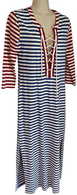 Item - Red Blue and White Striped Nautical Long Casual Maxi Dress Size 0 (XS)