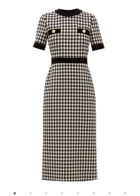 Item - Black Houndstooth Wool-blend Long Casual Maxi Dress Size 4 (S)