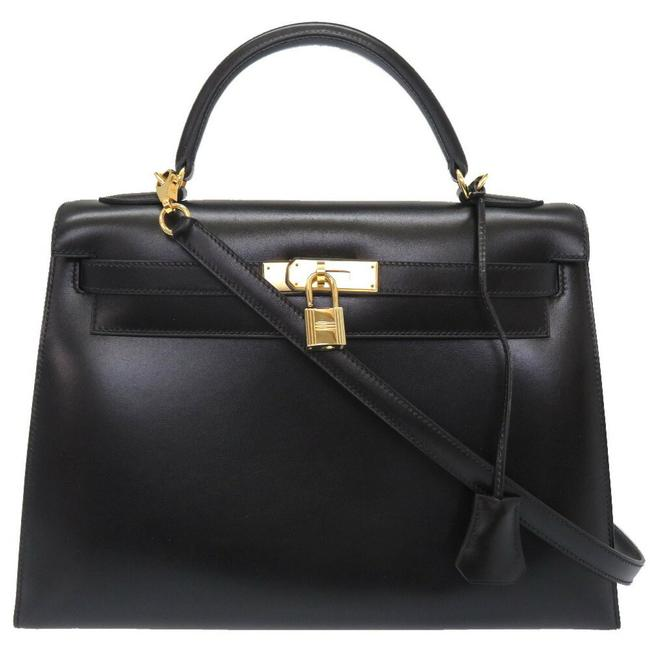 Item - Kelly 32 Outer Sewing Gold Hardware Black Box Calf Leather Satchel