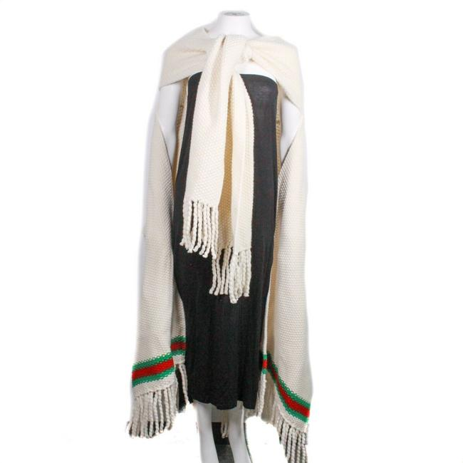 Item - Off-white / Ivory Red Green New: Stripe Fringe Wrap Us Small Poncho/Cape Size OS (one size)