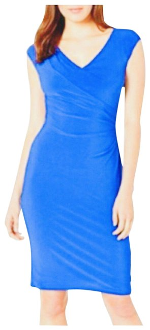 Item - Blue Azure Faux Wrap Ruched Mid-length Work/Office Dress Size 8 (M)