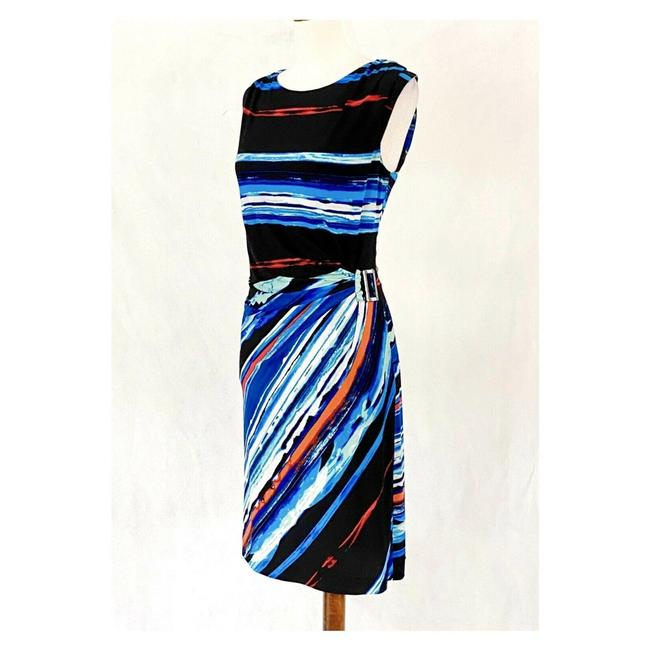 Item - Multicolor Sleeveless Striped Buckle Mid-length Work/Office Dress Size 10 (M)