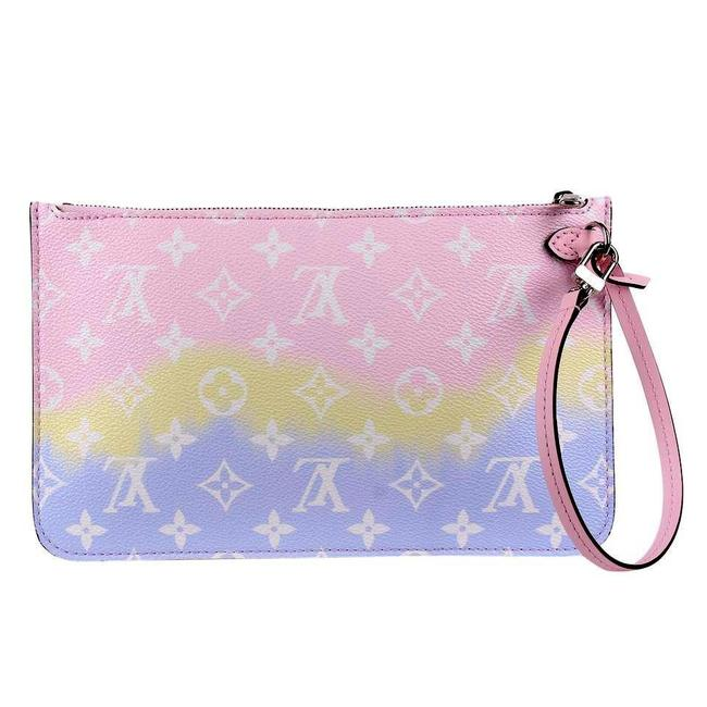 Item - Neverfull Limited Edition Mm Escale Wristlet 8549d Pink Coated Canvas Clutch