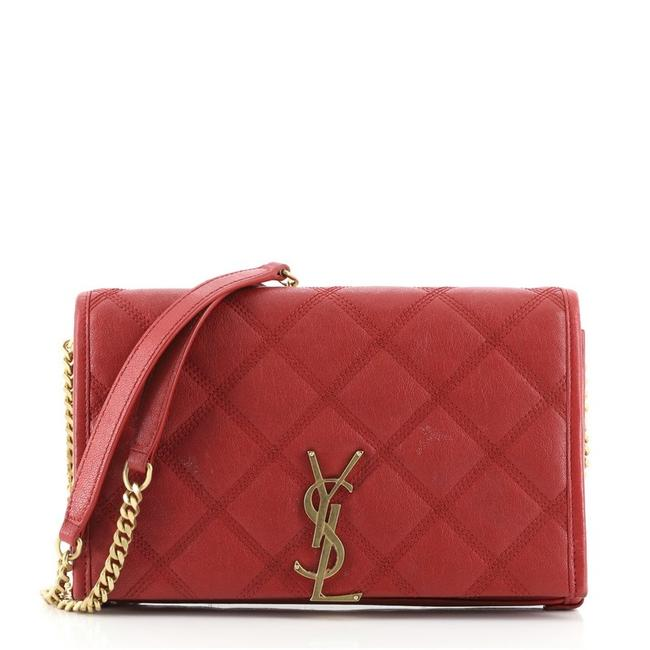 Item - Chain Wallet Becky Quilted Red Leather Cross Body Bag