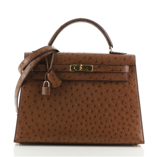 Item - Kelly Handbag with Gold Hardware 32 Noisette (Brown) Ostrich Tote