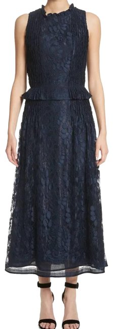 Item - Blue Abstract Leaf Midi Navy Lace Mid-length Formal Dress Size 12 (L)