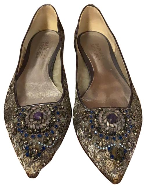 Item - Gray Lacy Mash Adorn with Ornament Of Stones Evening Flats Size EU 40 (Approx. US 10) Regular (M, B)