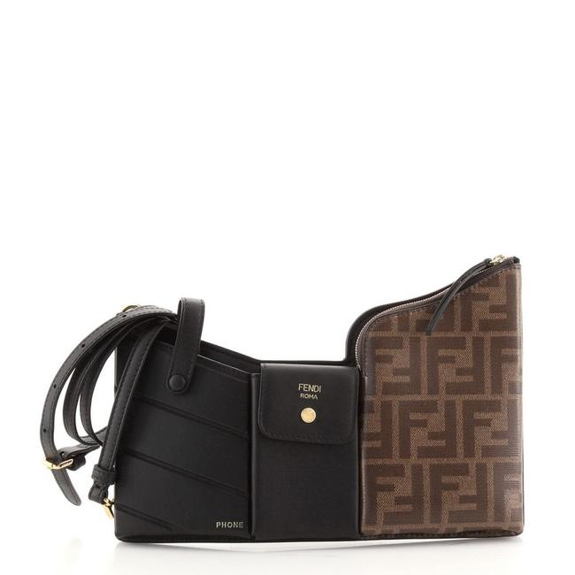 Item - Bustine 3 Pockets and Zucca Mini Black Brown Canvas Coated Leather Cross Body Bag