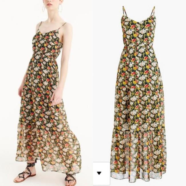 J.Crew Blue Red White Floral Long Casual Maxi Dress Size 2 (XS) J.Crew Blue Red White Floral Long Casual Maxi Dress Size 2 (XS) Image 3