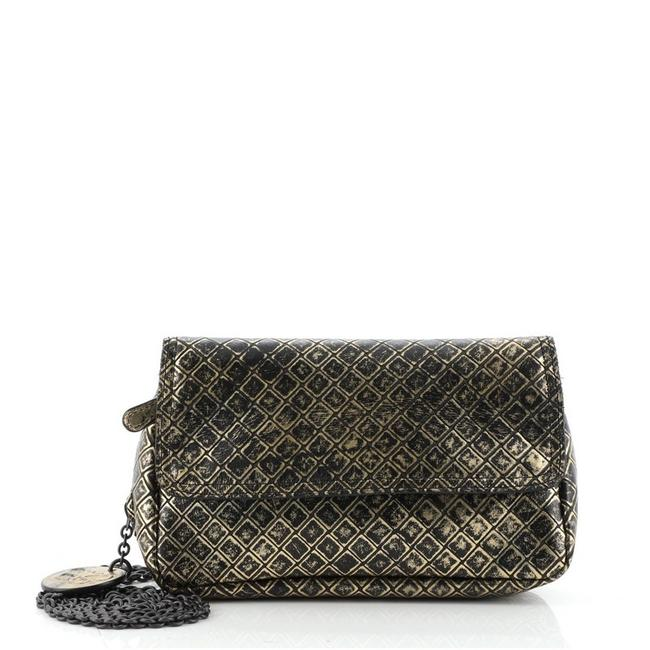 Item - Expandable Chain Intrecciomirage Small Black Gold Leather Cross Body Bag