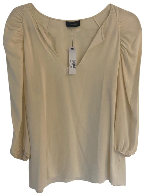 Item - Cream Rouched Sleeve Blouse Size 6 (S)