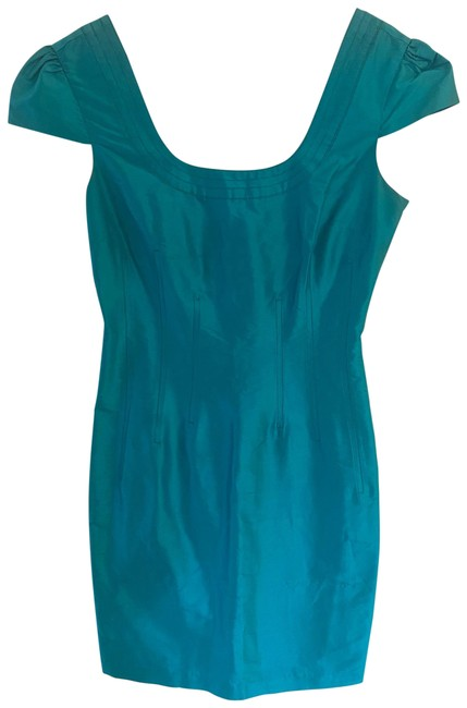 Item - Teal Silk with Belt Mid-length Cocktail Dress Size 6 (S)