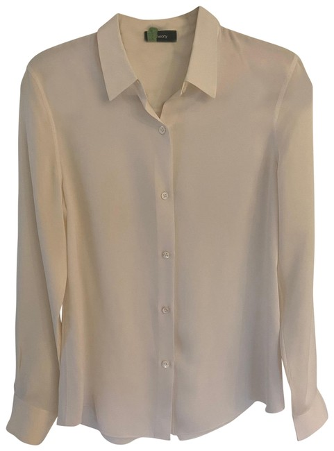 Item - Cream / Off White Silk Blouse Button-down Top Size 4 (S)
