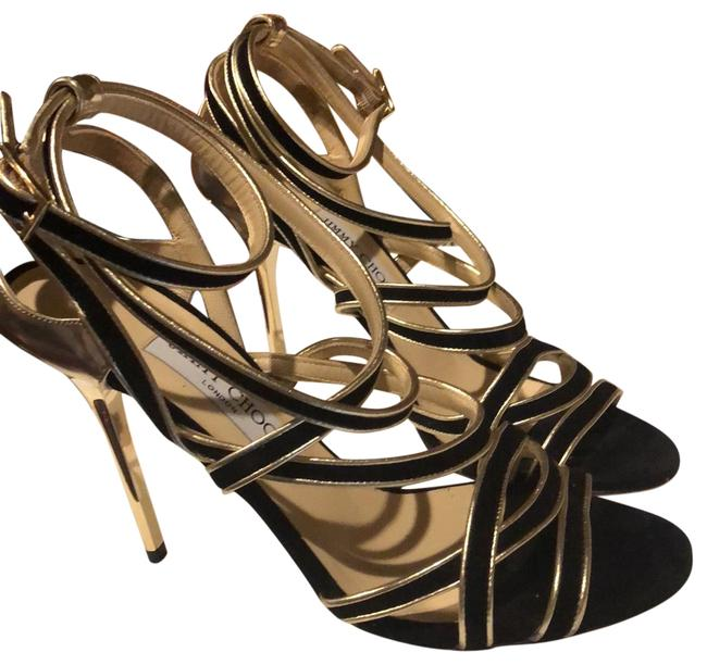 Item - Black and Gold Suede Leather Sandals Euc Formal Shoes Size EU 39 (Approx. US 9) Regular (M, B)