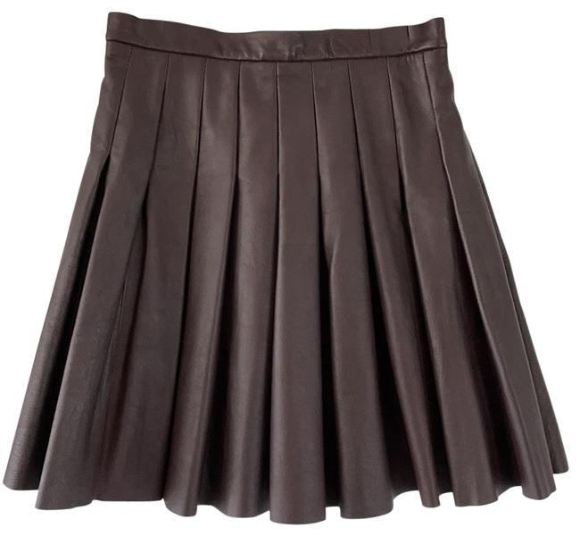 Item - Maroon Pleated Leather Skirt Size 6 (S, 28)
