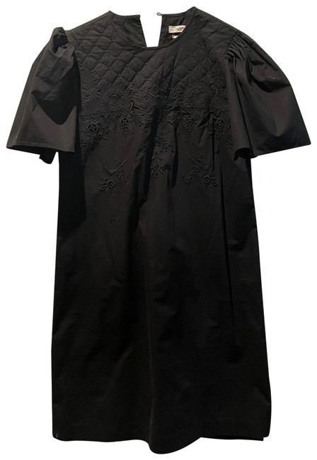 Item - Black Wita Floral-embroidered Cotton Mid-length Short Casual Dress Size 6 (S)