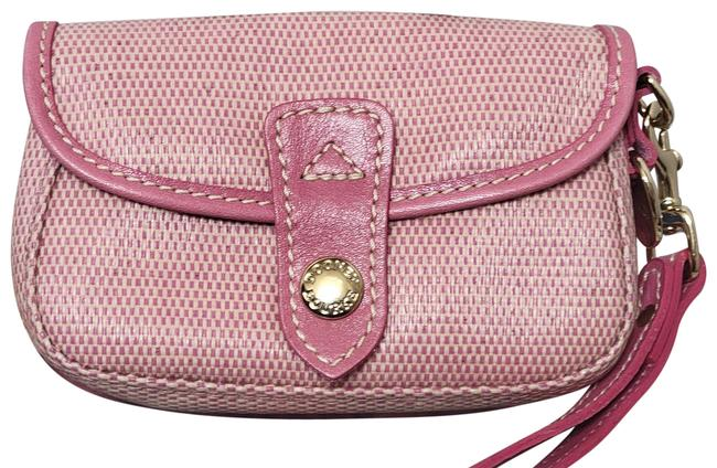 Item - Woven Pink Coated Canvas and Leather Trim Wristlet