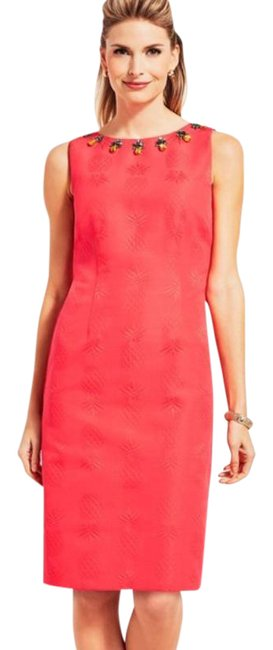 Item - Coral Pineapple Sheath Embellished Petite Short Casual Dress Size 4 (S)