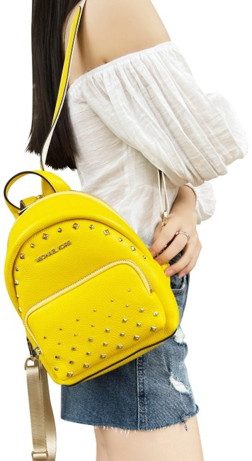 Item - Erin Small Convertible Citrus Studded Fannyback Yellow Leather Backpack