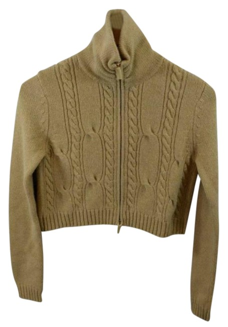 Item - Cropped Zip Luxury Pure Cashmere Long Sleeve Beige Sweater
