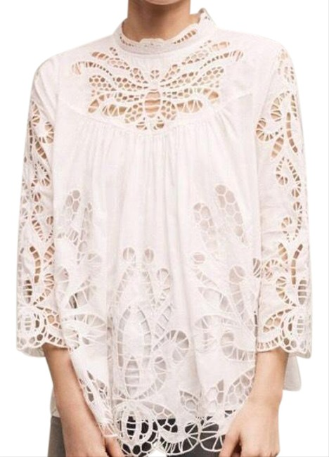 Item - White Anthropologie Laced High-neck By Blouse Size 4 (S)