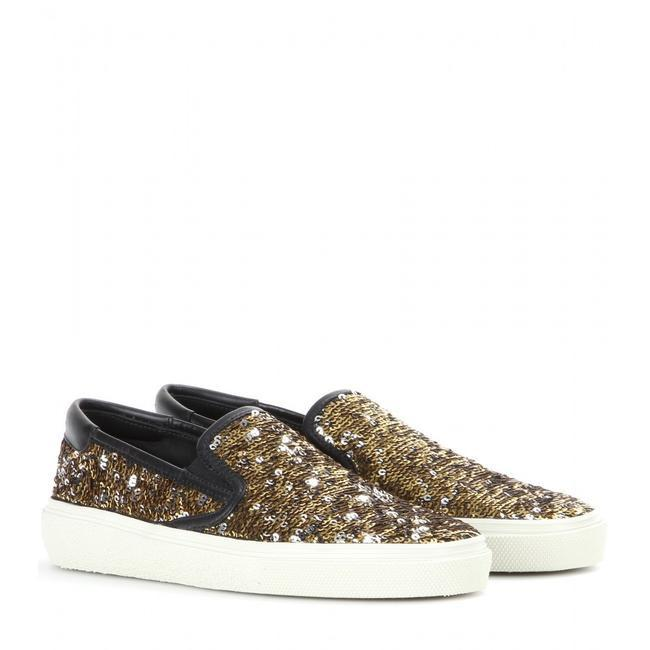 Item - Multicolor Gold & Silver Sequin Slip On 7.5/37.5 New Sneakers Size EU 37.5 (Approx. US 7.5) Regular (M, B)