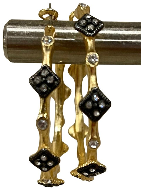Item - Gold with Black Diamonds Yellow Crivelli Earrings