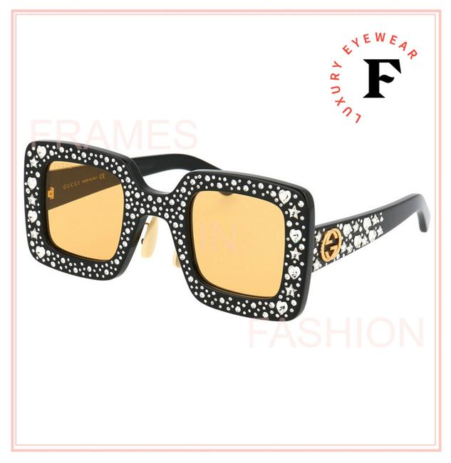 Item - Yellow Black Hollywood Forever 0780 Crystal Heart Gg0780s Mask Sunglasses