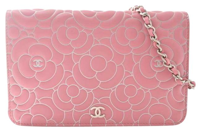 Item - Pink Leather Camellia Coco Mark Chain Purse Wallet