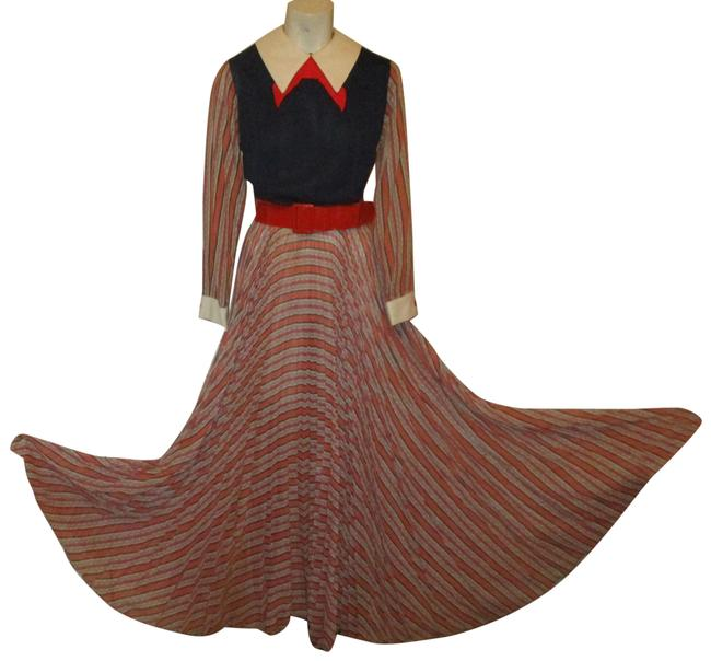 Item - Red White & Blue Sleeve Long Casual Maxi Dress Size 10 (M)